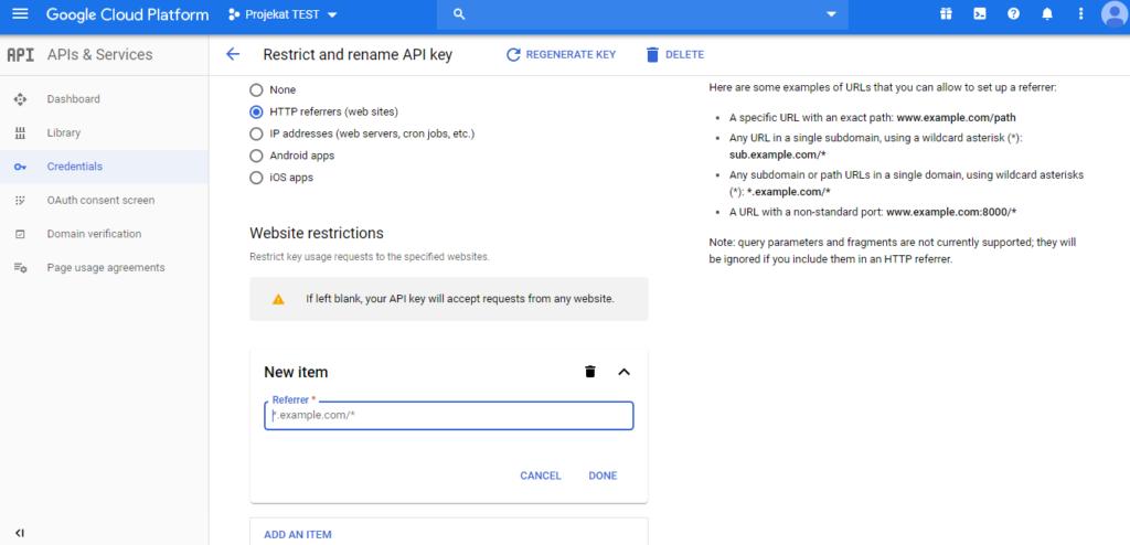 Ograničenje API ključa